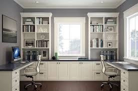 office for home. Modern, White Home Office With Two Desks And Chairs. For N