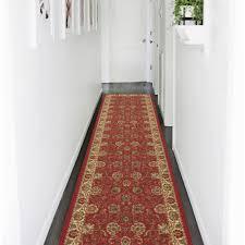ottomanson ottohome collection traditional fl design dark red 2 ft x 7 ft runner