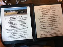 Old Faithful Inn Dining Room Menu New Inspiration