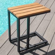 maze rattan oslo teak u shaped side table