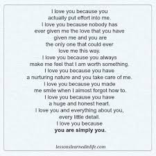 Lessons Learned In LifeI Love You Because Lessons Learned In Life Extraordinary I Love You Because