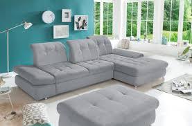 Ecksofa In Grauem Microfaser Sofa
