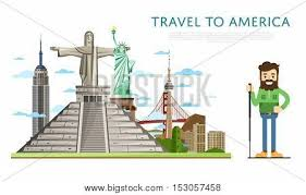 famous american architecture. Delighful Famous America Travel Landmark And Famous Place World Traveling Concept  Flat Vector Illustration Famous Buildings American Architecture In A  To Architecture N