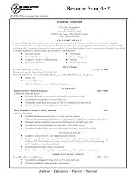 Professional College Resume Recent Science Graduate Resume Recent