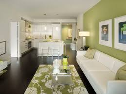 design ideas for a contemporary open plan living room in new york with green walls