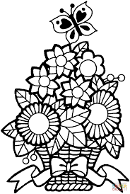 Butterfly And A Bucket Of Flower coloring page | Free Printable ...