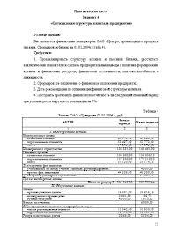Оптимизация структуры капитала Вариант Практические работы  Оптимизация структуры капитала Вариант 4 26 10 09