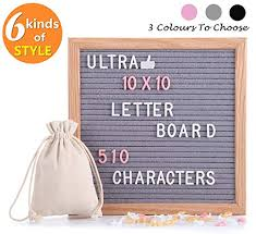 Aqw Recommendation Letter Letter Board Felt Letter Board With 510 Pcs Replaceable Letters Lovely Emojis 10x10 Inches Solid Oak Wood Material Decorative Display Board