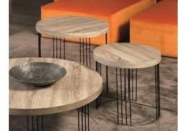 Colombini Casa Modern Smith Set Of 2 Round Coffee Tables With Slim Metal  Legs