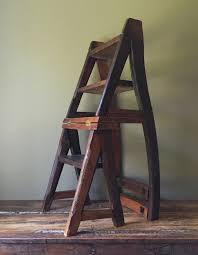 reclaimed primitive wood step ladder chair rustic ben franklin folding library seat rustic wooden