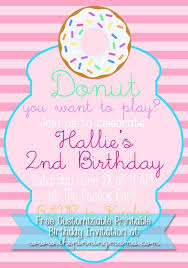Birthday Invitation Party Free Customizable Donut Birthday Party Invitation The