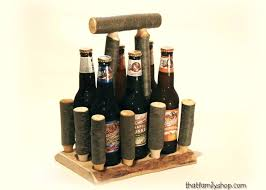 wooden beer caddy log tote unique serving gift idea craft brew holder for groomsman wood plans free nz carrier with bottle opener uk
