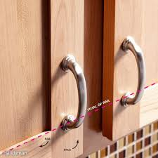 Cabinet hinges installed New Hardware Use The Door Rail As Guide Kav Kitchen Cabinet Hinges How To Install Cabinet Hardware The Family Handyman
