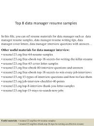 Data Management Resume Sample Top 8 Data Manager Resume Samples