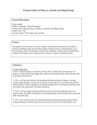 Characteristics of Tobacco, Alcohol and Illegal Drugs Lesson Plan ...