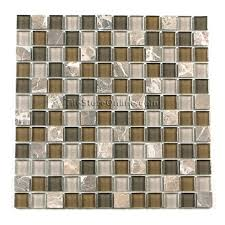tumbled marble tile. Glass Tile And Tumbled Marble Mosaic - 1 X GS1001 Emperador Brown Blend Glossy