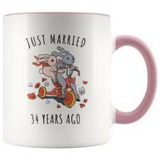 just married 34 years ago 34th wedding anniversary gift accent mug