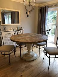 solid oak round dining table 6 seater chairs
