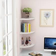 white set 3 floating corner wall shelf bookshelf shelves storage ownyourspace