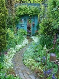 Romantic English Cottage Garden With Pots In Plants Autumn Stock Romantic Cottage Gardens