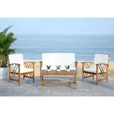 wood patio furniture with cushions.  Wood Fontana 4Piece Patio Seating Set With Beige Cushions In Wood Furniture With L