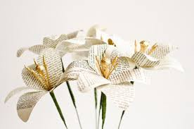 Paper Flower Stems Paper Lilies Made From Books Half Dozen Flower Stems Choose From