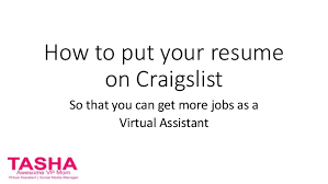 How To Post Resume On Craigslist How To Put Your Resume On Craigslist For Virtual Assistants