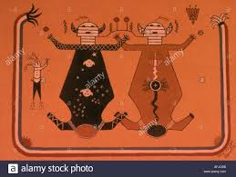usa navajo indian sand painting showing father sky and mother earth