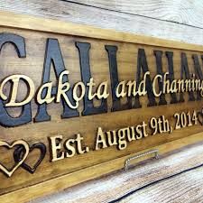 last name elished sign family name signs wedding gift wood sign 5 year anniversary gift by