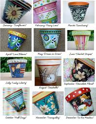 pot of the month club hand painted terracotta by thepaintedpine 300 00