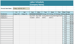 Business Schedule Template 6 Free Labor Schedule Templates In Ms Word And Ms Excel