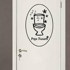 Decorative Bathroom Door Signs Funny Stickers French Pipi Room Toilet WC Sign Door Wall Sticker 97