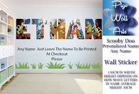 scooby doo wall sticker children s bedroom wall art any name sticker decal mural 1 of 3free