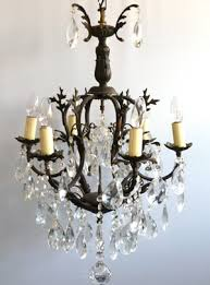 6 arm brass vintage cage chandelier with large harlequin drops