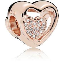 pandora rose joined together heart charm 781806cz