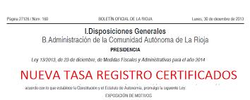 Tasas Registro Del Certificado Energético La Rioja