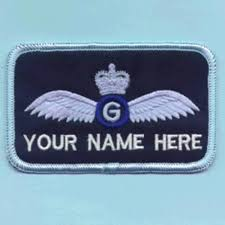 raf glider pilot with crown 1 line name badge