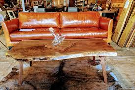 live edge walnut coffee table with