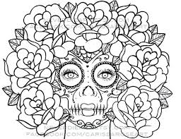 Sugar Skull Coloring Pages Printable Free For Adults Day Of Dead