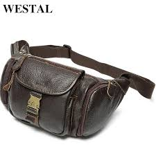 westal genuine leather waist bag men s leather pack belt bag man chest bags men waist pack fashion male wallet