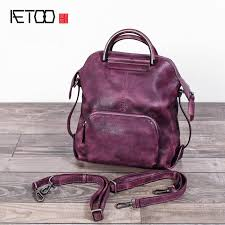 aetoo the new vintage women s first layer of leather shoulder bag can be hand painted hand wiping original leather bag