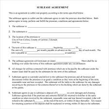 Sublease Agreement Samples Sublease Agreement 6 Example Format