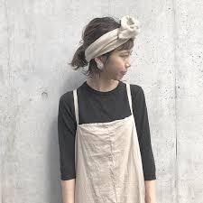 ヘアバンドスカーフで前髪なし簡単ヘアアレンジやり方つけ方 I