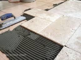 French Pattern Walnut Brushed U0026 Chiseled Travertine Tile Installation  Mortar Set