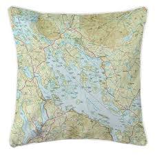 Nh Lake Winnipesaukee Nh Nautical Topo Map Pillow