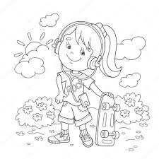Small Picture Coloring Page Outline Of girl in headphones with skateboard