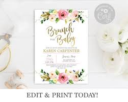 baby girl invite baby shower invitation girl brunch for baby invitation girl baby girl invite boho baby shower pink and gold floral invitation corjl