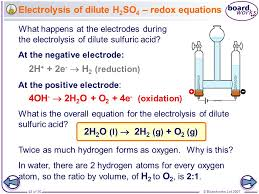 44 electrolysis of dilute h2so4 redox equations