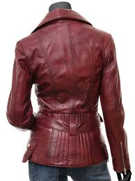 victoria womens burdy fitted leather jacket
