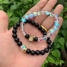 <b>2pcs</b>/set King Queen CZ crown <b>love</b> couples bracelet <b>stone</b> white ...